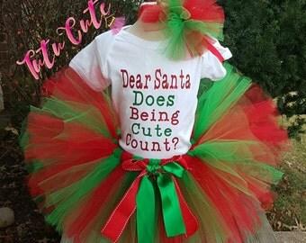 Dear Santa, Does Being Cute Count Tutu Set