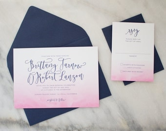 Modern Invitations with Ombre Watercolor, Dip Dye Wedding Invitations, Pink Wedding Invite with Watercolor SAMPLE | Watercolor Wash