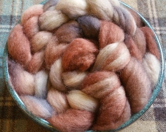 Silver Birch - Hand dyed Bluefaced Leicester BFL top fibre for handspinning or felting in woody browns, silver greys and natural cream