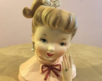 1950s Pony Tail Girl Lady Head Vase with Rhinestone Engagement Ring