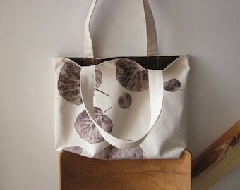 Big canvas bag, Fall bag, hand printed bag, leaves bag