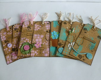 "8 large Mixed media tags Journal tags Gift tags 6"" x 2.75"""