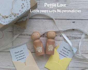 Bridesmaid Gift, Thank you for being our Bridesmaid, Personalised Gift, Bridesmaid Peg Doll, Wedding Keepsake, Cake Lady Thankyou, Peg Doll