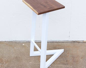 Wood And Steel Bar Stool
