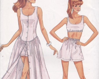 Butterick 6451 Vintage Pattern Womens Button Down Dress, Shorts and Summer Top Size 6,8,10 UNCUT