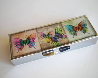 Pill box - Pill container - Mint case - Butterflies -  Art pill box - Gift idea - Pill box butterflies