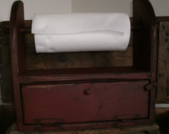 Wood  Bread Box Paper / Towel Holder