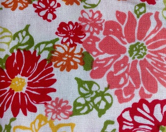 Floral Array by Richloom Fabrics/Quilting Sewing Craft Fabric/Green Pink Red Gold on Light Background/HALF Yard Pricing