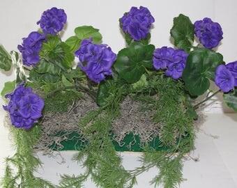 "Purple Lovers Geraniums Cascading Springeri Silk Window Box Arrangements Summer Flowers with Preservative for your 18"" - 24"" Window Box"