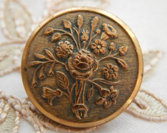 Bouquet of Flowers - Scovills Golden Age Antique Button of Brass