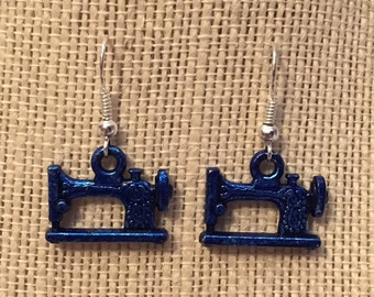 Blue Sewing Machine Earrings