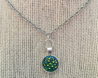 "16"" Emerald Green Faux Druzy Pendant Necklace"