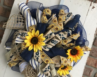 Navy and burlap sunflower wreath