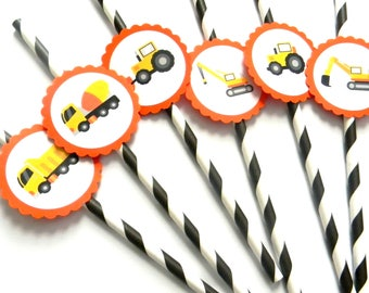12 Oragnge Construction Party Straws, First Birthday, Trucks, Transportation, Construction Birthday, Cement Truck, Decor, Baby Shower