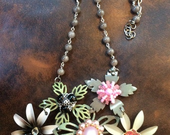 Fun and Fabulous Gray Enamel Flower Assemblage Necklace