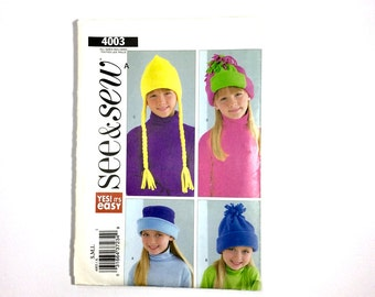 See & Sew 4003, Girls' Hat Pattern, Easy Hat Pattern, Size S, M, L, Uncut Pattern