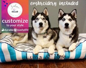 X-Large Bolster Dog Bed | Coastal Blue, Gray, White, Stripe | Washable - Design Your Own!