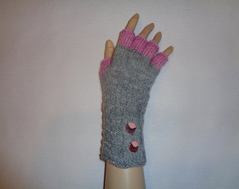 Hand-knitted grey color gloves with half fingers and buttons,Gloves & Mittens, Gift Ideas