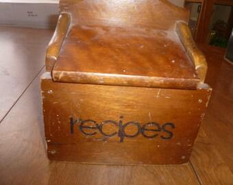 Vintage Wooden Recipe Box