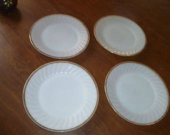 Four White Fire King Dinner Plates