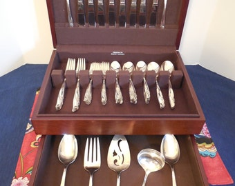 EXQUISITE 1957 SILVERWARE SET for 8 w/ chest - 55 piece set, a perfect gift for a bride or anniversary celebration