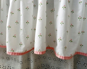 Vintage Bedskirt or Dust Ruffle by Laura Ashley for Burlington, Pink on White Rosebud Printed Fabric, All Cotton, Bias Tape Edging