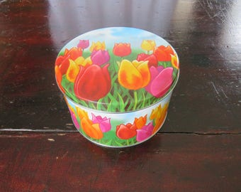 Vintage Mr. Coffee collector tin - very bright tulips - yellow red pink orange green with  blue sky - Limited Edition - very sweet