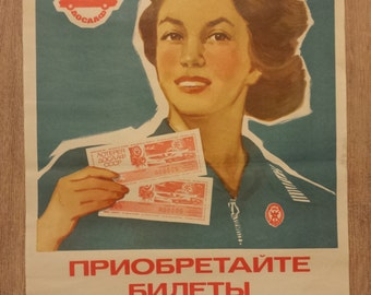 Original Rare Soviet Poster AD of Lottery, Girl from 70s USSR Communist 1977