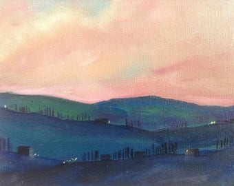 Pink Tuscan twilight - between night and day - original framed oil painting by Sarah Gill. Italian landscape