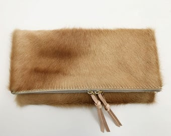 Beige/Blonde Hair on Hide Fold Down Clutch