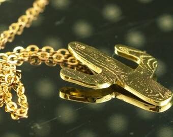 Golden pendant necklace, cactus, brass,  woodgrain pattern on chain, hand cut, jewelry