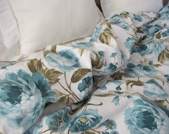 Bloom Flower Bedding, Turquoise Blue White Roses Floral Print TWIN XL Full Queen Bed, King Duvet Cover, Shabby Chic Bedding Romantic Bedroom