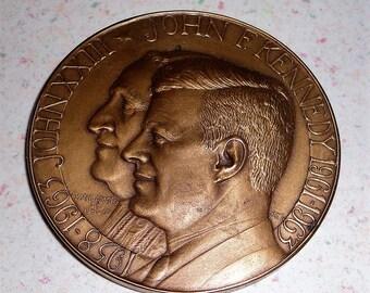 JFK/ Pope John XXIII Bronze Medal, Coin - Medallic Art Co. New York - 1960's - Commemorative Coin Collectible