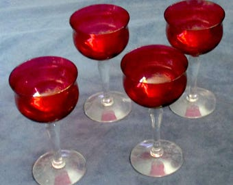 Irridescent ruby flashed Wine Glasses set of four