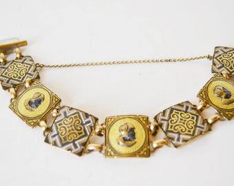 Gold vintage bracelet, Bracelets, Toledo Spain, Damascene,