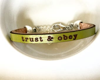 trust & obey : Apple Green Daily Reminder Leather  bracelet