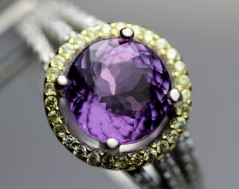 Flawless Genuine Amethyst in a Halo Accented Sterling Silver Ring