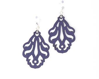 """Laser Cut Leather Earrings -""""Falling Leaves"""" in Purple and Metallic Beige"""