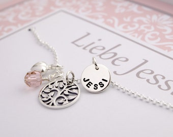 Jewelry engraving tree of life NECKLACE 925 SILVER