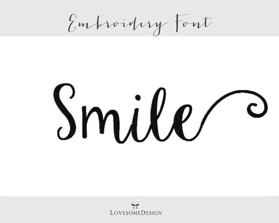 Smile font three sizes inch by lovesomeembroidery