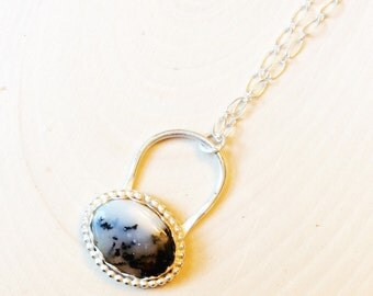 Sterling Moss Agate Necklace