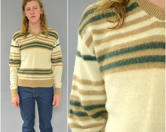 1970s HANDS OFF striped v neck sweater