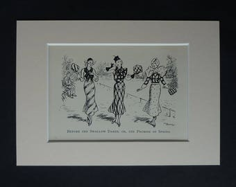 1930s Antique Fashion Print, Available Framed, Clothing Art, Old Fashionable Decor, Crazy Clothes Gift for Spring, Lewis Baumer Illustration