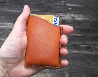 Leather card holder / credit card, visa, mastercard, Handmade, hand stitched Tan