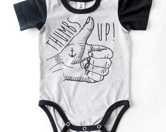 Thumbs Up Tattoo Hand Baby Short Sleeve Baby Grow - Unisex Alternative Anchor Rockabilly Bodysuit 0-3, 3-6, 6-12 month