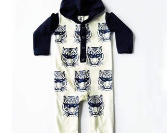 Super Hero Masked Tiger Long Sleeve Hoodie Playsuit - Unisex Alternative Wrestler Rockabilly Bodysuit Baby Grow 0-3, 3-6, 6-12 month