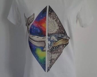 Women's Galaxy Whale T-Shirt - UK 12 14 16 - Tattoo Eco Earth Alternative