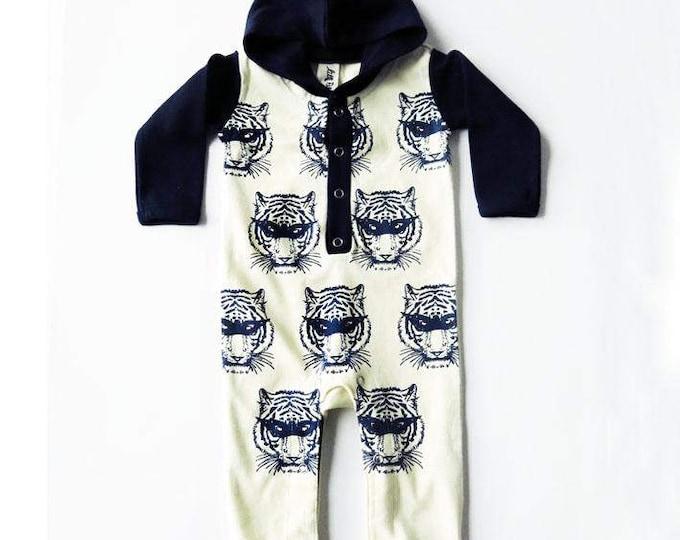 Super Hero Masked Tiger Long Sleeve Hoodie Playsuit - Unisex Alternative Wrestler Rockabilly Bodysuit Baby Grow 0-3, 3-6, 6-12 month