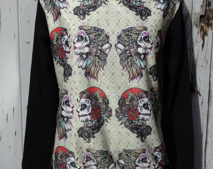 Gypsy Skull Sweater - Size 10 12 14 16 - Jumper Top Long Sleeve  Alternative Tattoo Candy Skeleton Sugar Day Of The Dead Día de los Muertos