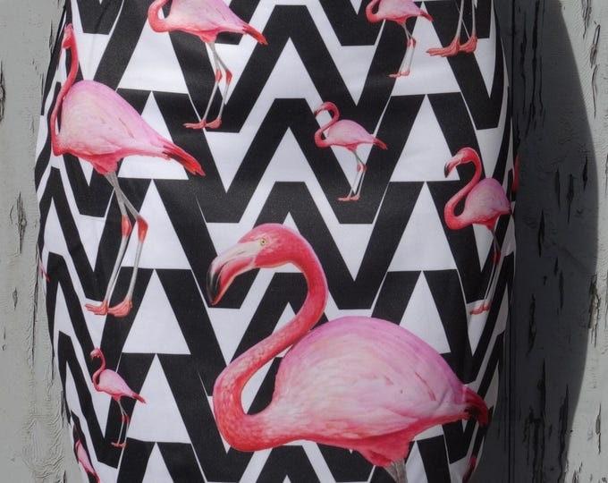 1980s Flamingo Skirt - Size 12 14 - Mini Digital Print Retro Vintage Bird 50s Kitsch Kawaii Girl Geek Chic Pin Up Tropical Cocktail